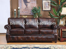 Royal classical American leather sofa set with copper nail,American sofa home furniture (BF01-20045)