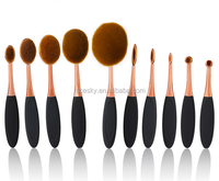new oval brush sets 10pcs new toothbrush makeup brush beauty essential make up professional oval make up brushes with holder