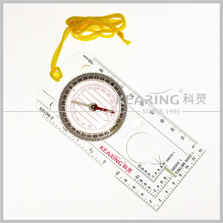 Kearing Military folding ruler map compass/map Compass with mirror,New style military folding ruler map compass with rope#KMC-1