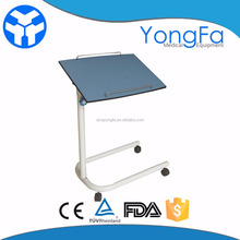 YFT-007 height adjustable hospital bed tray table with wheels