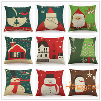 Retro Vintage Christmas Anime Cushion Cover,Ikea Cotton and Linen Custom Sublimation Printed Pillow Case HT-PCILPC-H-05-15