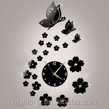 2016 Bathroom Mirror Butterfly 3D Wall Sticker Clock Spring Themes New Design For Room Decoration
