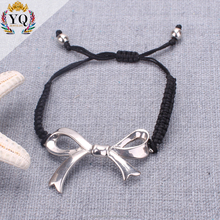 BYQ-00345 weave bracelet alloy lovely bowknot rope braided simple string for girl adjustable