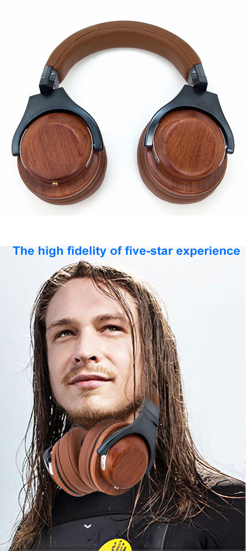 Studio Quality Rose Wood Stereo Headphones Headset for All Devices Wood Headphone