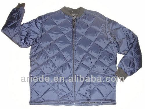 mens navy blue quilted freezer jacket for work