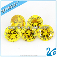 8mm aaa high quality synthetic yellow golden cz