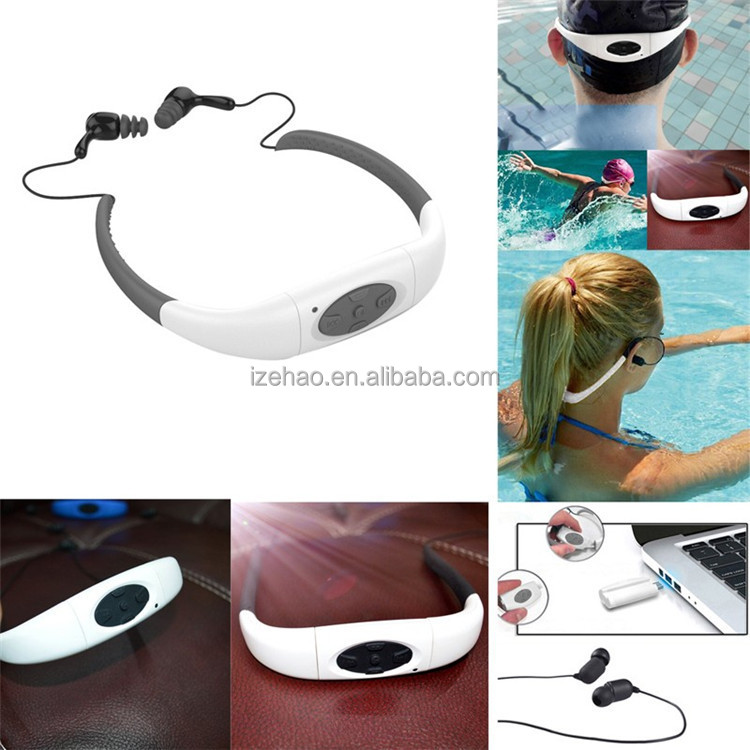 Waterproof MP3 Music Player IPX8 Swimming Running Surf Underwater Sports Neckband Mp3 with FM Radio Earphone