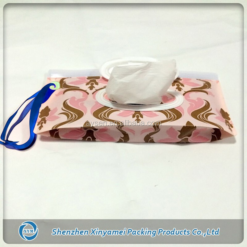 full color printing design resuable wet tissue napkin eva packaging bag with plastic lid