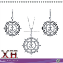 Stamped 925 Sterling Silver ANCHOR Deisgn Anchor Earring Pendant Set