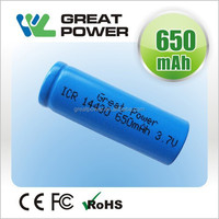 rechargeable 3.7v 650mah RCR 123 16340 lithium battery from china manufacture