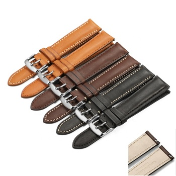 Wholesale 18mm 19mm 20mm 21mm 22mm Handmade Wrist Quick Release Watch Band Genuine French Leather Watch Strap