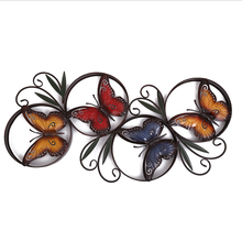 Stoving varnish red yellow blue butterfly design wall hanging metal decorative art
