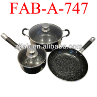 Popular 5pcs aluminum stone coating cookware sets with stainless steel handle