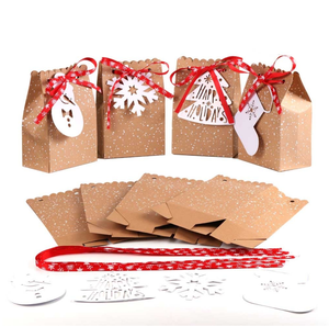 New Products Kraft Christmas Paper Gift Bag Good Quality Christmas Box with Ribbon