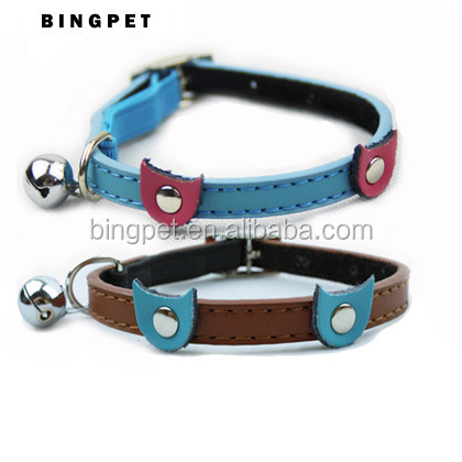 Factory Manufacture Genuine Leather Cute Safety Cat Collar