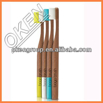B6135 wood medium bristle wholesale bamboo toothbrush round