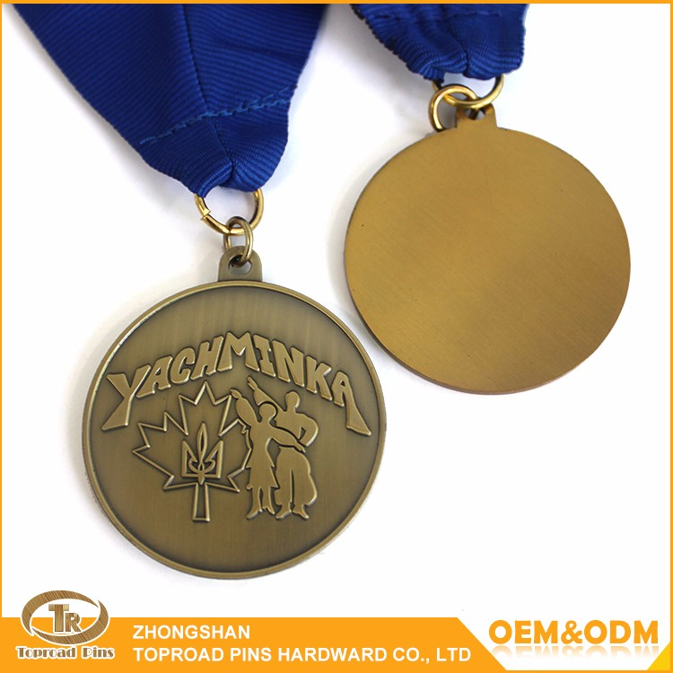 Made in china high quality custom metal antique gold trophy medal