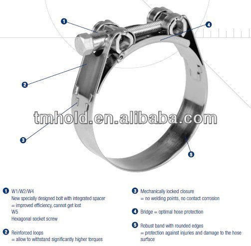 wide band heavy-torque hose clamps with one solid head