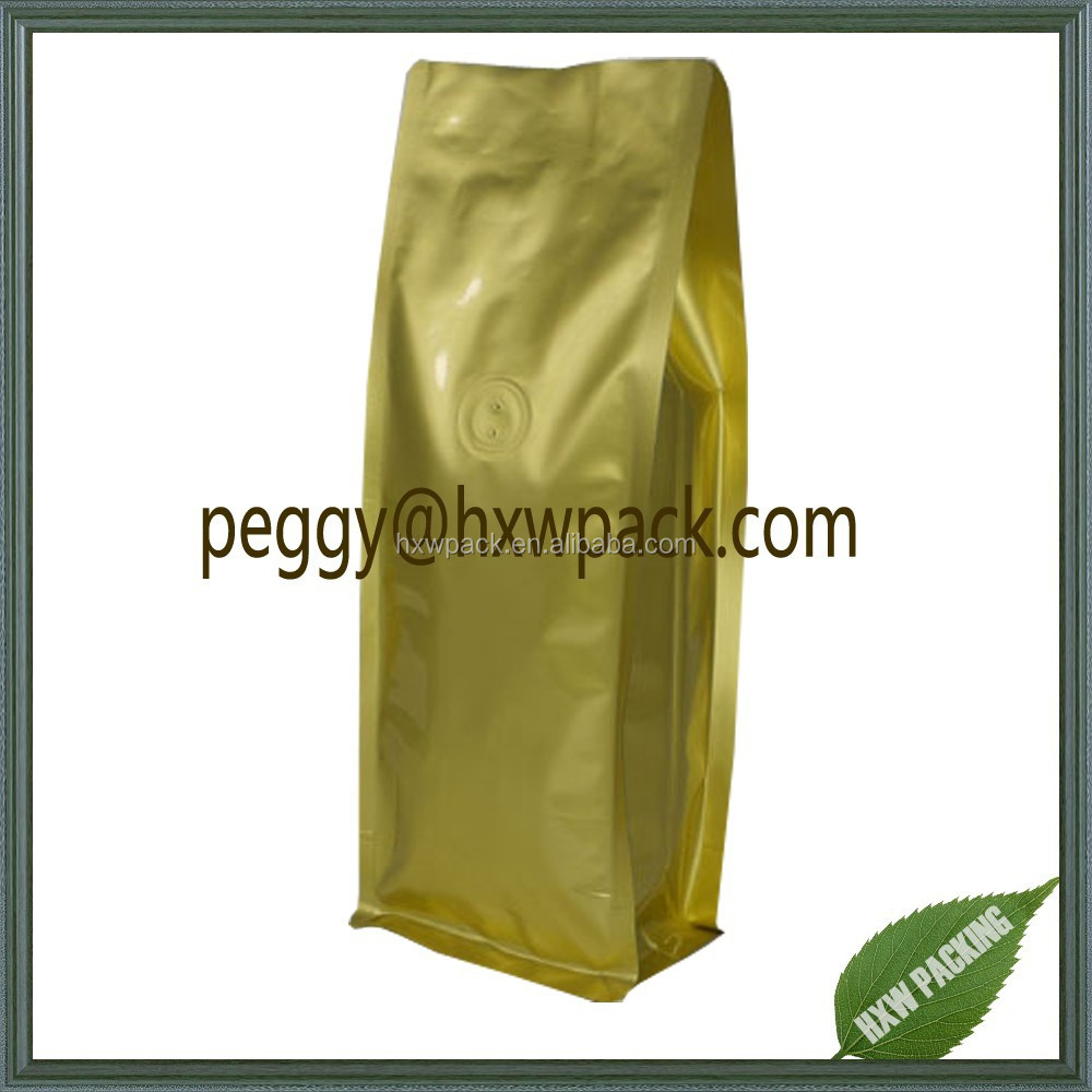 Aluminum foil side gusset flat bottom coffee bags with valve