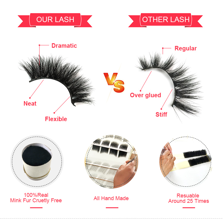 Private label custom eyelash box mink cruelty free eyelashes mink eyelash strips 3d mink lashes
