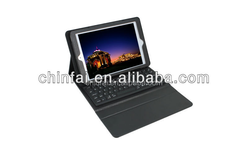 Shenzhen Manufacture Bluetooth Keyboard for Ipad with folding Leather Protective Case