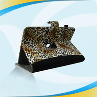 Magnetic rotatory leather folio case for ipad 2 3 4,with leopard prit pen clip