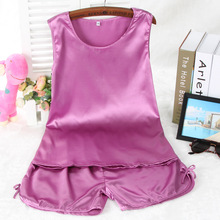 Wholesale Women Summer Pajamas Set Round Neck Sleeveless Pyjamas Rayon Silk Sleepwear Pajamas Shorts Set Pajamas