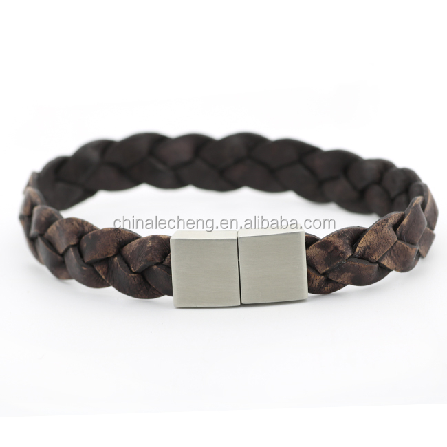 Wholesale Fine Friendship Genuine Leather Braided Bracelet With Metal Clasp