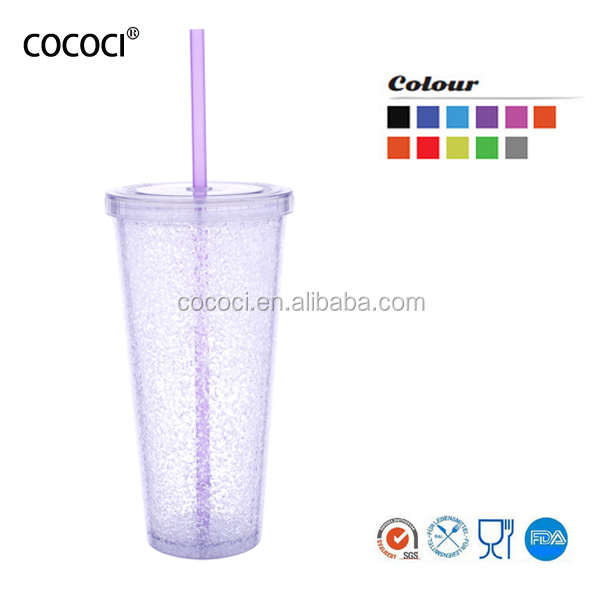 Promotion gift personalized water drinking plastic mug with straw