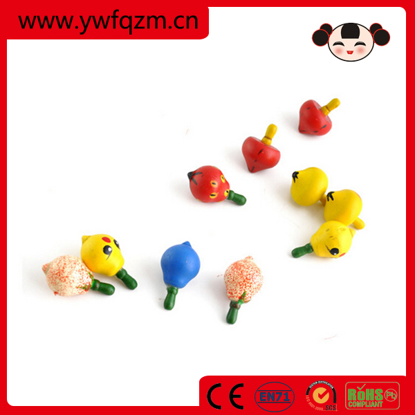 2016 new style kids play cute fruit design wooden spinning top toy