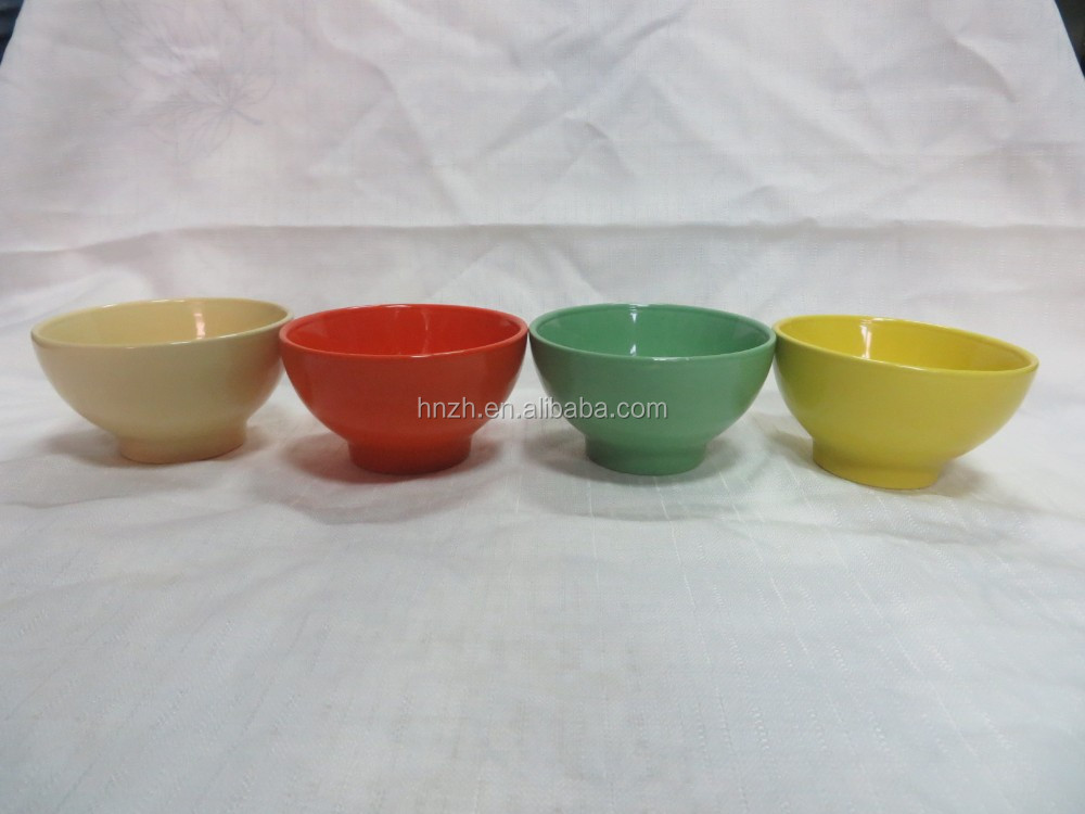 Different types of bows of color glazed rise bowls you can select for 6 people