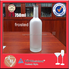 Vodka liquor use machine blown frosted glass bottle 750ml