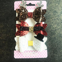 New Arrival Christmas Hair Accessories Mulit Pack Glitter Bow Clip for girls