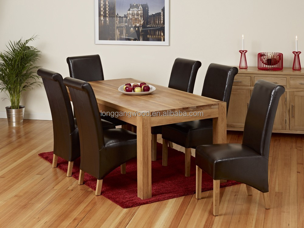 Dining set 6 piece breakfast furniture wood 6 chairs and for Kitchen table set 6 chairs