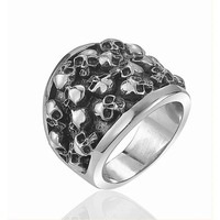 Stainless Steel Jewelry for men Biker Ring with Couple Gothic Skull Skeleton Hand Ring
