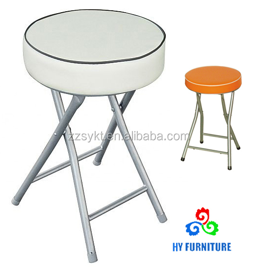 Upholstered folding round pvc cushion stools with metal legs supplier