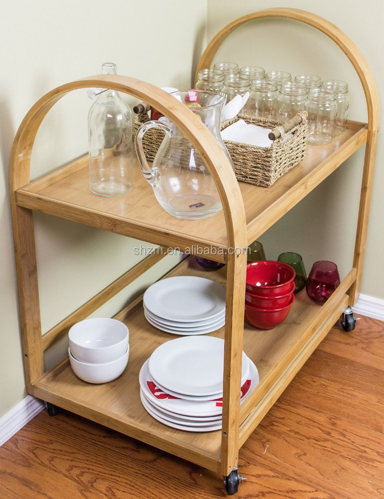 kitchen bamboo cabinet /storage cupboard / fruit display table with wheels