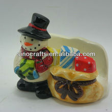 snowman design christmas ceramic napkin holder