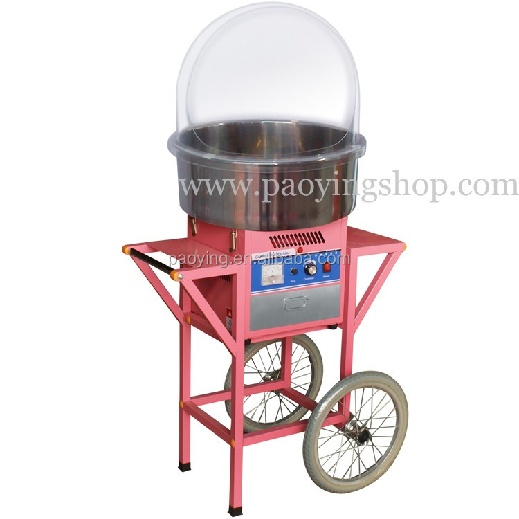 "20.5"" Commercial Use 110v 220v Electric Cotton Candy Cart Machine with Cover"