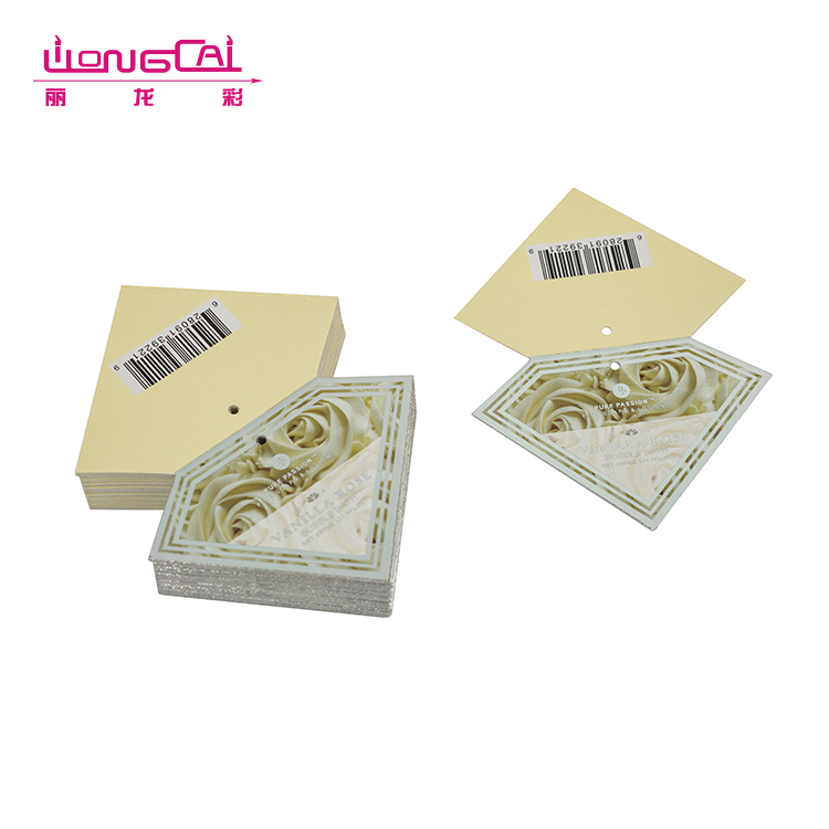 Special shape cardboard fold over hang tag labels with hole