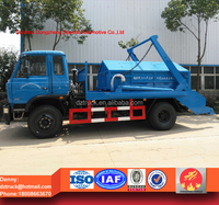 DongFeng skip loader garbage truck, 8-10cbm swing arm waste truck for sale