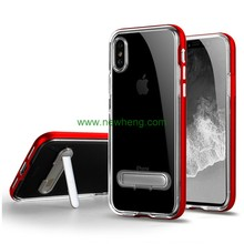 Fashion Transparent tpu+pc bumper shockproof back cover stand case for iphone X
