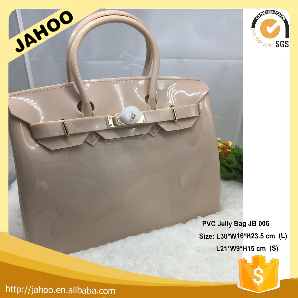 2016 Summer Star Favourites Nude Color PVC Handbag With Twilly,Padlock and Strap