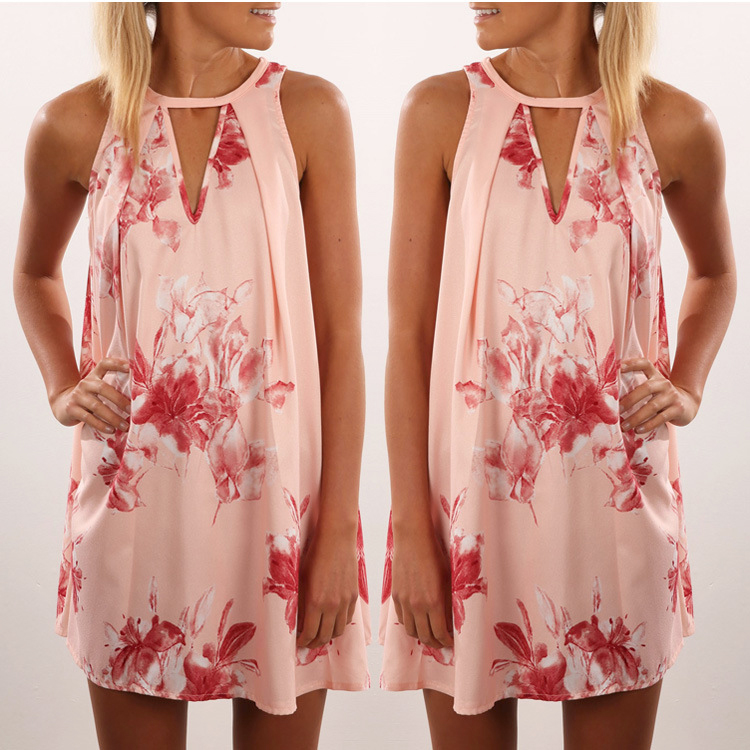 Fashion latest designs printing floral summer women lady silk satin dress