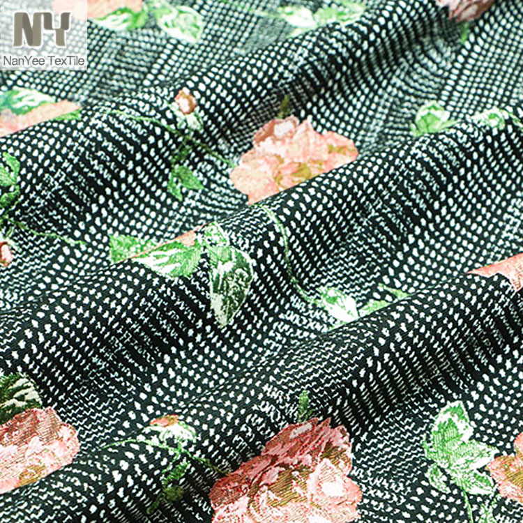 Nanyee Textile Black White Base Heavy Rose Floral Design Jacquard Fabric