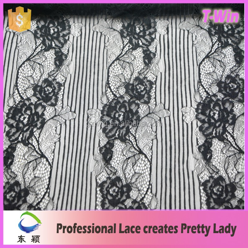 2016 soft eyelash lace chantilly lace with rose lace fabric for garment design