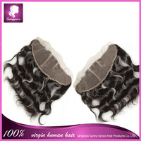 "13x4 malaysian #1b human hair 20"" body wave full lace frontal closures three part hair frontal piece for black women sunny grace"