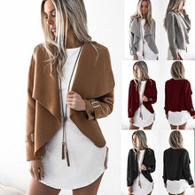 Loose Long Sleeve Open Front Shawl Collar Woolen Short Coat