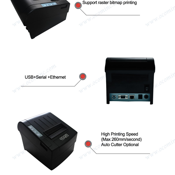 OCPP-806-URL Windows Linux android supported 300mm per sec High Printing Speed 80mm Thermal Receipt Printer