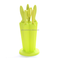 5pcs stainless steel knife set with kitchen scissor with acrylic stand, with durable blade and ABS+TPR handle